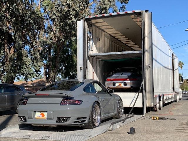 Loading a Porsche Cayenne