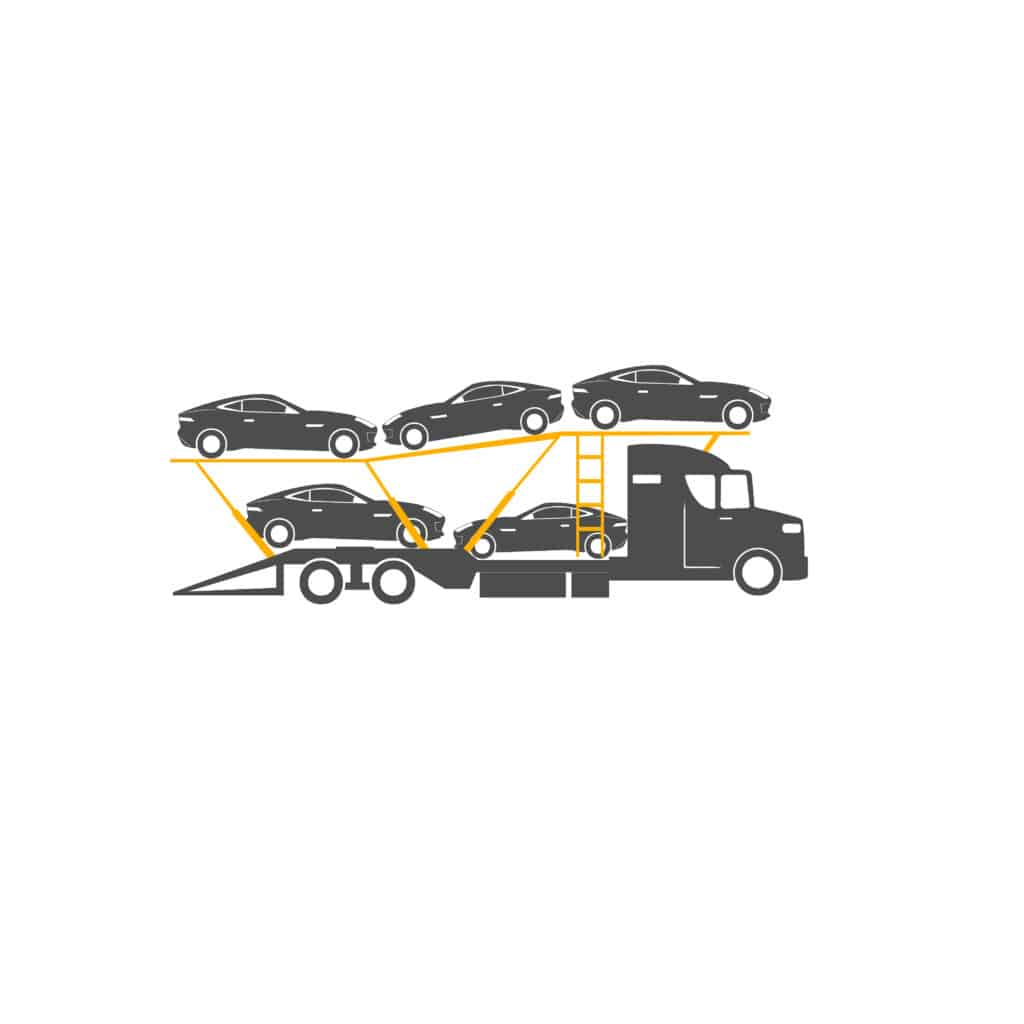 illustration of bulk sports car shipping trailer