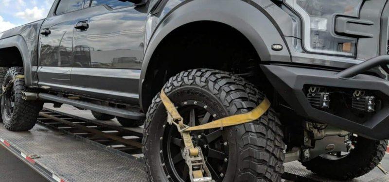 black ford raptor for auto transport