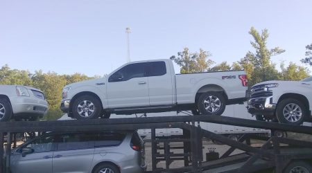 A Ford F-150 being transported from Tucson, Arizona to Broken Arrow, OK by Autotransport.com (800) 757-7125