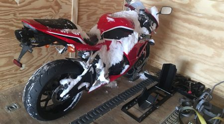 honda cbr 600 motorcycle in transport trailer